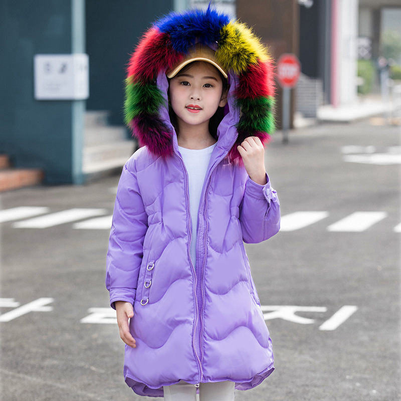 купить Girls winter down jacket long clothes for big children -30 degree 80% white down duck Korean kis clothing fur collar thick coat недорого