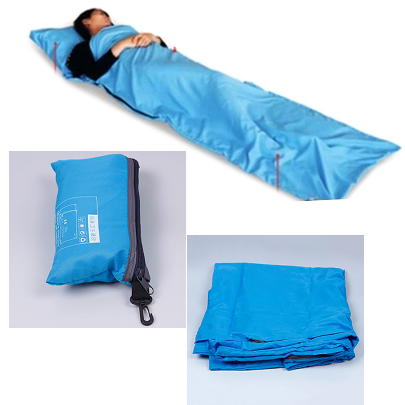 Pure Blue LINER Single//Double Sleeping Bag Inner Sheet Travel Hiking Camping US