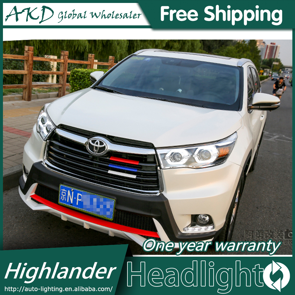 AKD Car Styling for 2015-2017 New Highlander Headlights Toyota  LED Headlight DRL Bi Xenon Lens High Low Beam Parking Fog Lamp akd car styling for toyota highlander led headlights 2015 angel eye headlight drl bi xenon lens high low beam parking fog lamp