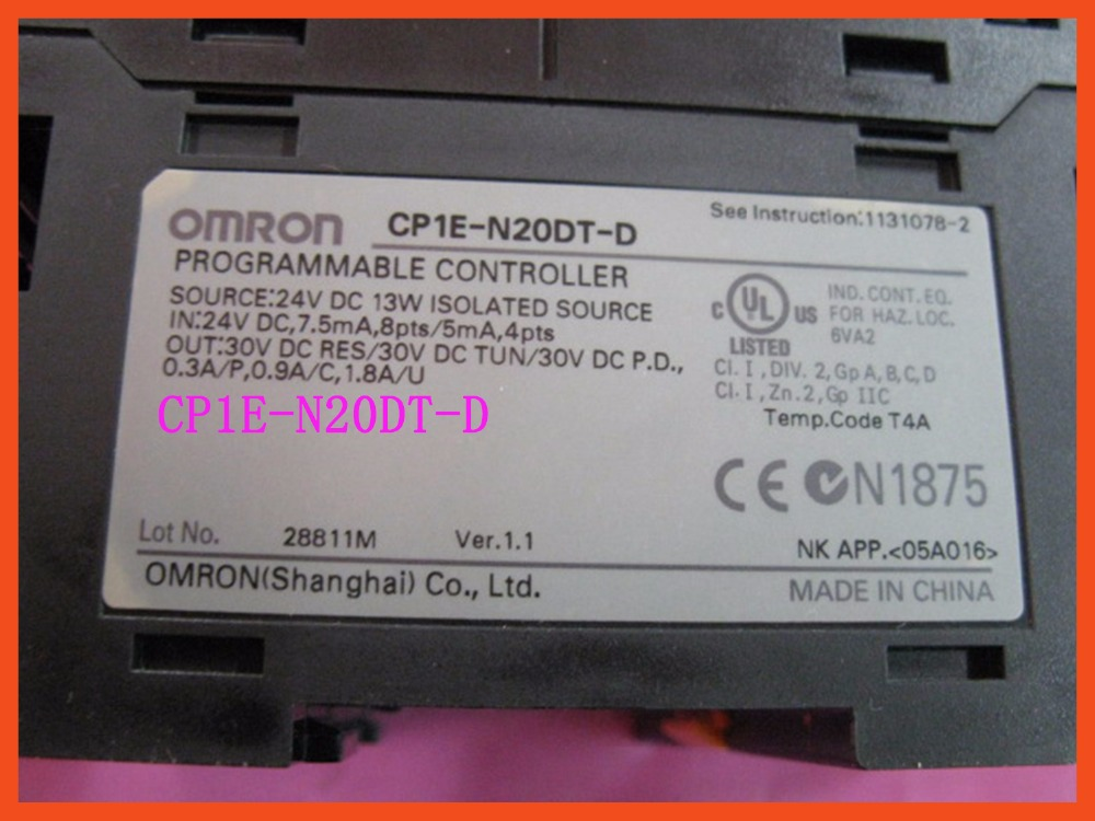 PLC Controller Motor controller CP1E-N20DT-D DC 24V input 12 point Transistor output 8 point CP1E N20DT-D N20DT CPU for Omron aquarium fish tank tubing straight connector t splitter for 4mm air line 24 pcs