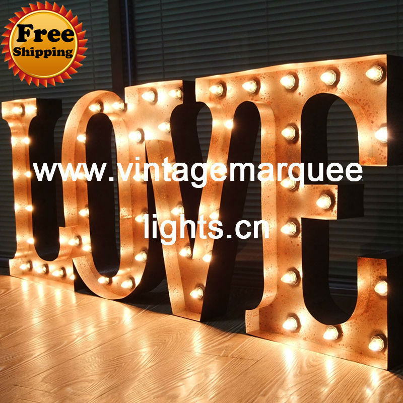 buy 24 inch novelty lighting vintage industrial metal marquee letter light a z 26 letters signs and free shipping from reliable light wood - Marquee Letter Lights