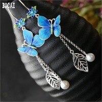 Real 925 solid sterling silver long tassels classical silver earrings vintage cloisonne butterfly earrings