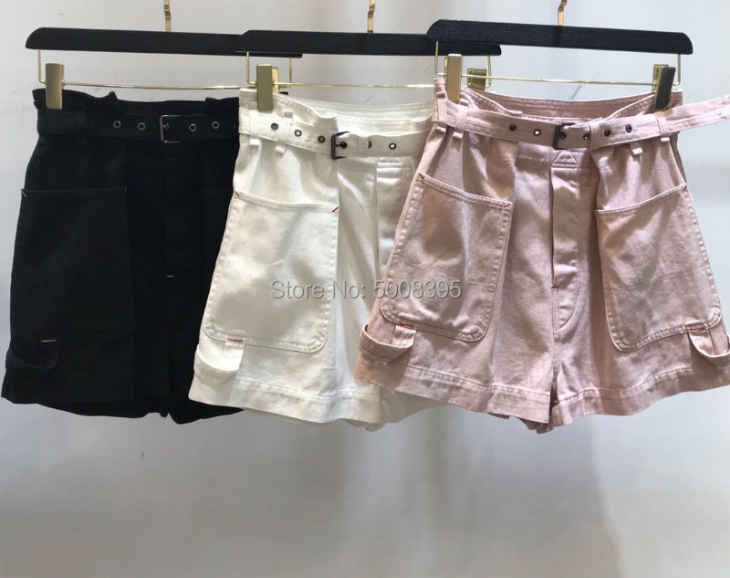Weiß Rosa Schwarz IKE Baumwolle SHORTS Hohe Taille Schnalle Gürtel Große taschen seite zurück Gerollt Manschetten Saum-in Shorts aus Damenbekleidung bei  Gruppe 3