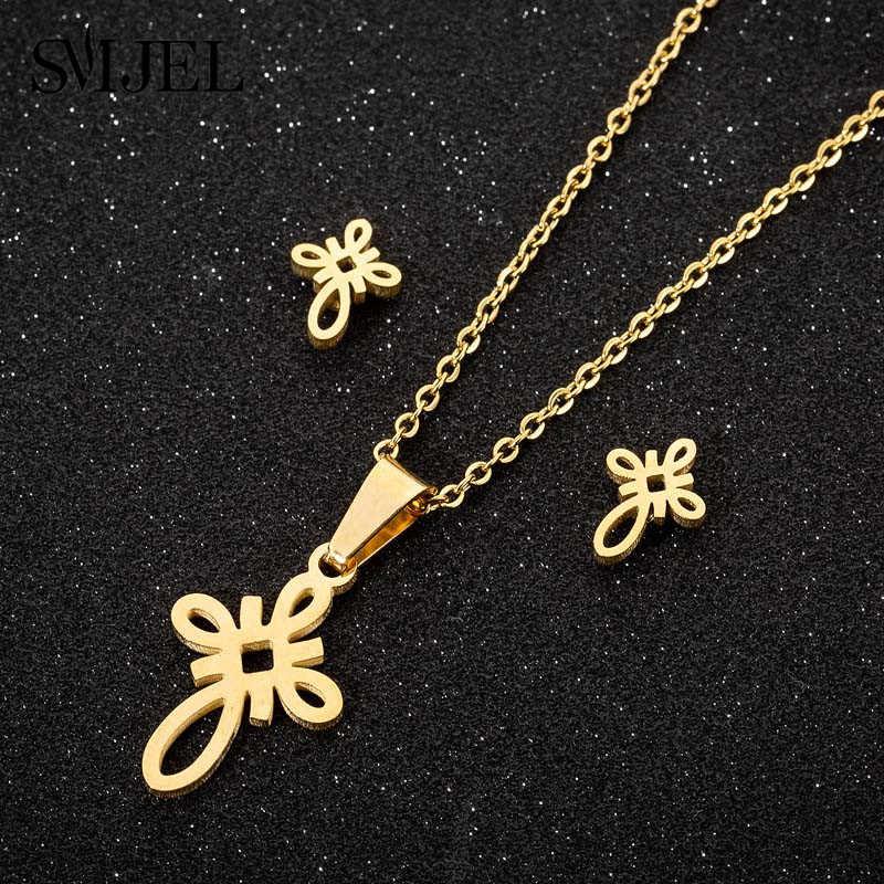 SMJEL ethnique éternel noeud pendentif collier femmes en acier inoxydable noeud chinois boucle d'oreille collier Lucy bijoux meilleur ami cadeaux