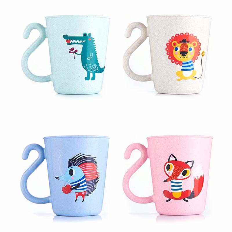 Taza de leche para niños y bebés, tazas de agua creativas de dibujos animados para bebés, taza para aprender a beber jugo, taza para baño de 350ml