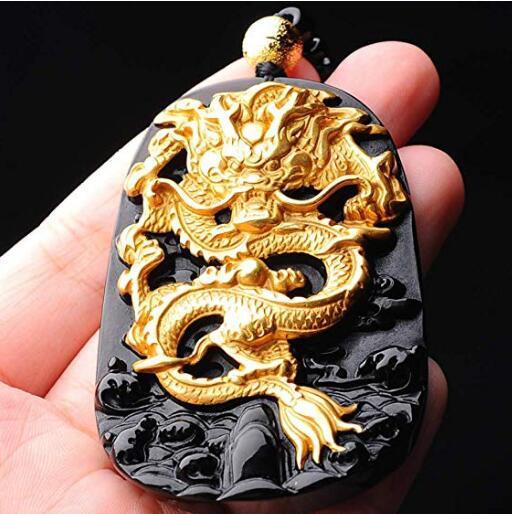 EASTCODE charmant 999 pur or incrusté obsidienne naturelle noir Jades Dragon pendentif collier - 6