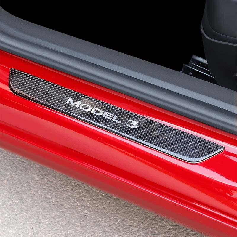 Pour Tesla modèle 3 voiture seuil de porte seuil plaque porte étape porte seuil plaque 4D Fiber de carbone vinyle autocollant Auto accessoires 2 pièces