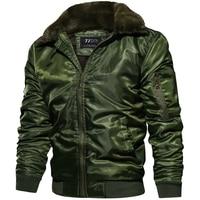 New Autumn Winter Jacket Men MA1 Tactical Pilot Bomber Jacket Men Warm Military Jacket Fur Collar US Size Army Air Force Coats