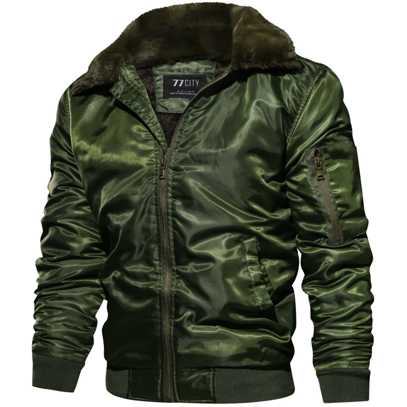 New Autumn Winter Jacket Men MA1 Tactical Pilot Bomber Jacket Men Warm Military Jacket Fur Collar US Size Army Air Force Coats image