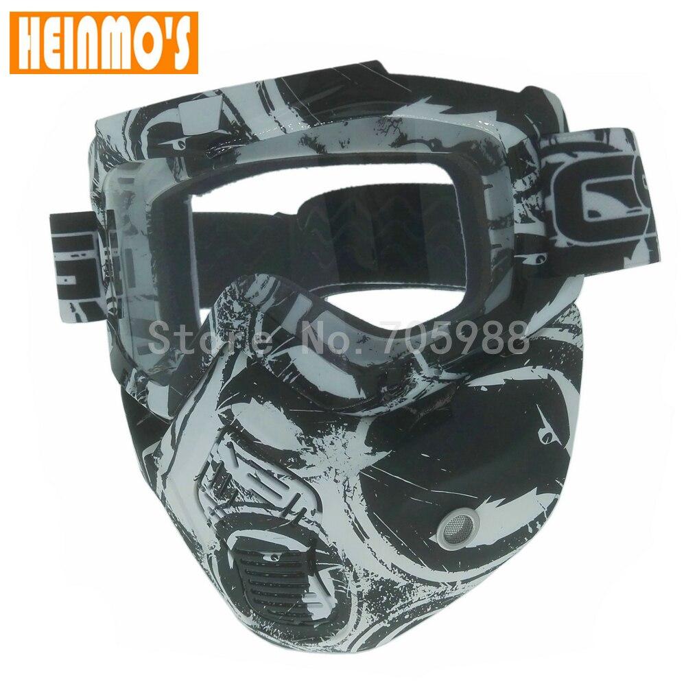 Универсальный Съемный мотоциклетные очки маска козырек Мотокросс Óculos Gafas для открытого лицом очки прозрачные линзы серебряной объектива
