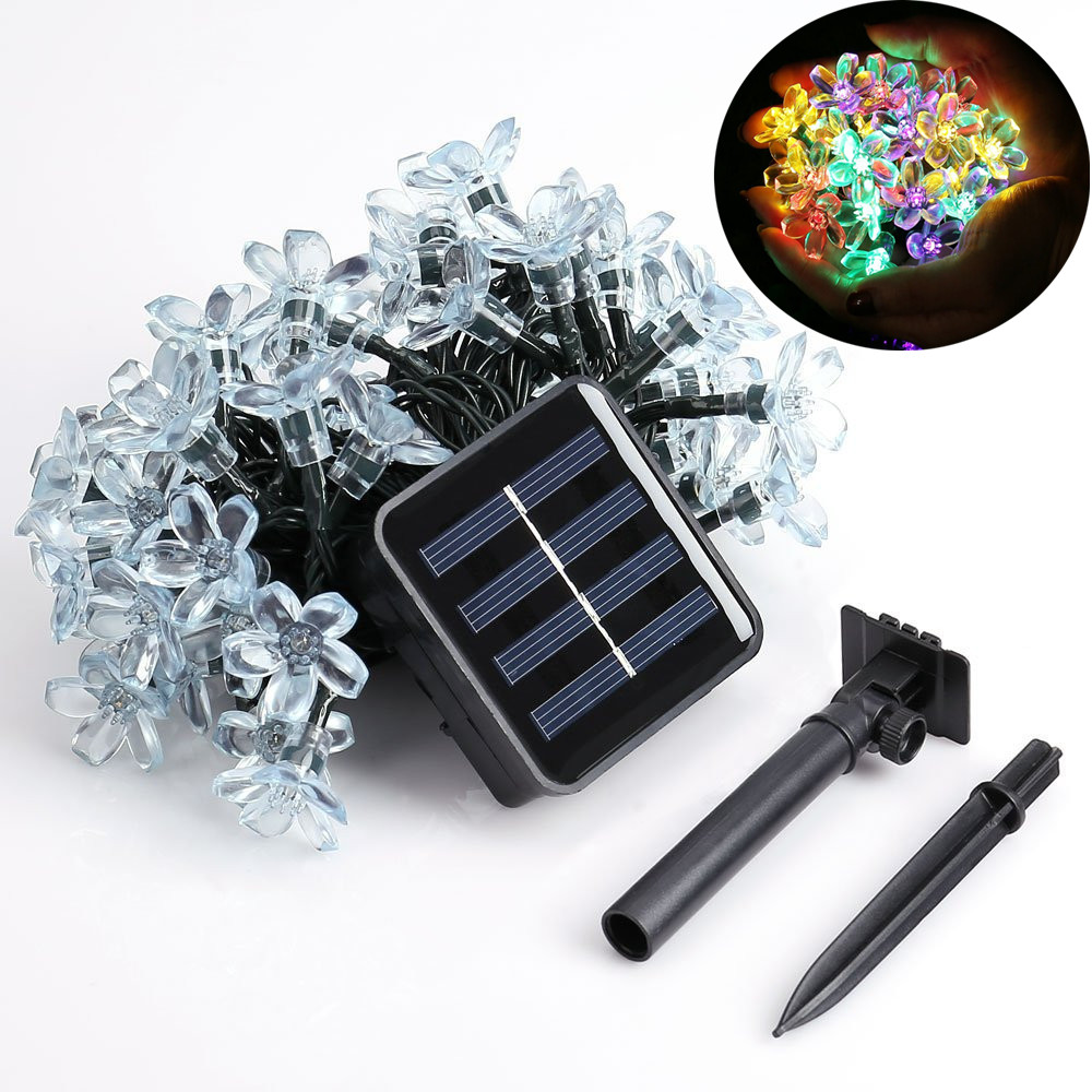Solar String Lights, 7M 12M 60LED 100LED LED Fairy Blossom Flower Garden Lights for utendørs, hjem, plen, bryllup, patio, fest