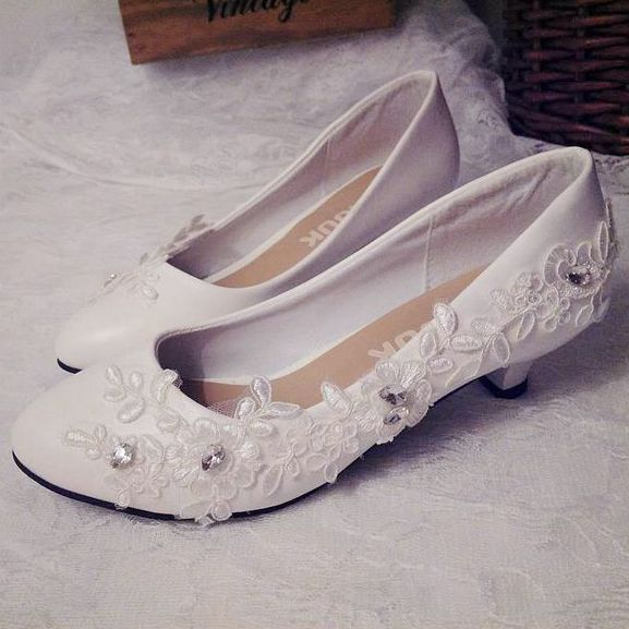 Small Low Heel White Lace Crystal Wedding Shoes Bride