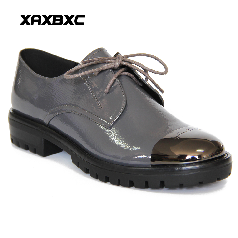 XAXBXC 2018 Vårhøsteskinn Oxfords Platform Low Heels Women Pumps Lace Up Metal Round Toe Casual Ladies Mujer Sko