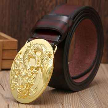 VOHIO Gold Dragon Designer Luxury Brand Belts for Mens Genuine Leather 100% Male Jeans Vintage Solid Brass Buckle oval big size - DISCOUNT ITEM  40% OFF Apparel Accessories
