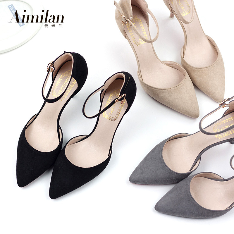 2017 spring and summer new Korean fine with the a pointed high - heeled shoes sandals shoes small size shoes fashion
