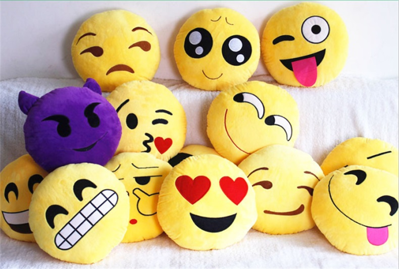 13 Styles Soft Emoji Smiley Emoticon Yellow Round Cushion Pillow Stuffed Plush Toy Doll Christmas Present