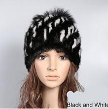 Real mink fur hat knitted autumn winter warm cap fox fur pom pom natural mink ladies fashion warm hats for women fur H916