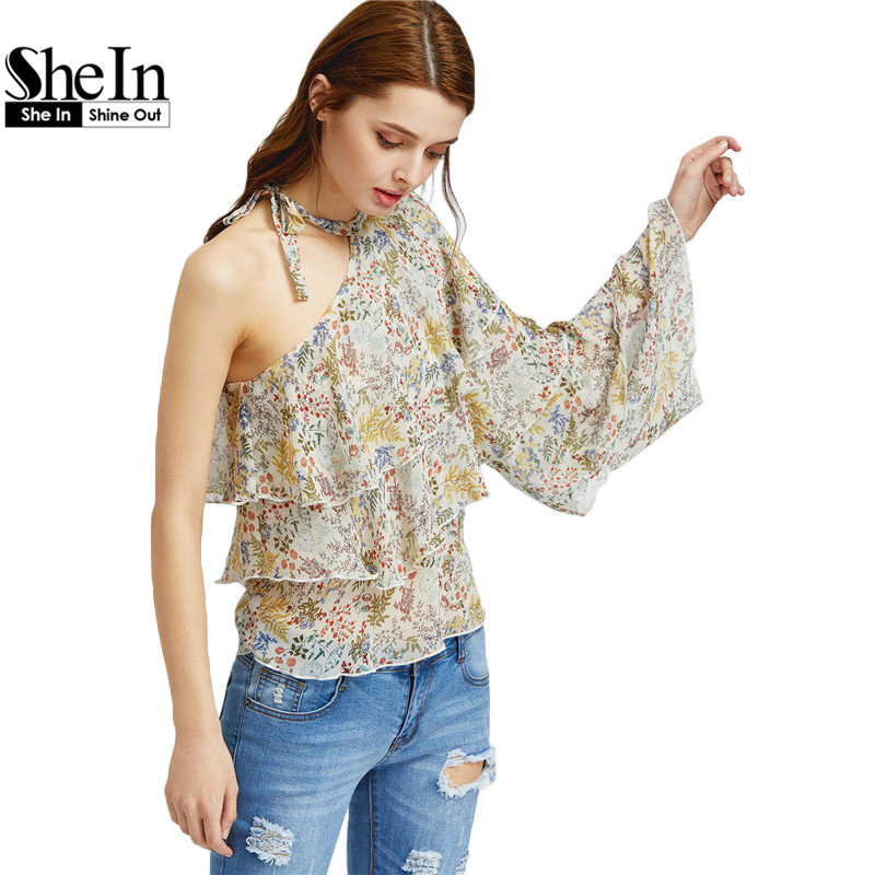 SheIn Boho Women's Blouse Womens Tops 2017 Summer Multicolor Botanical Print One Shoulder Halter Neck Ruffle Top