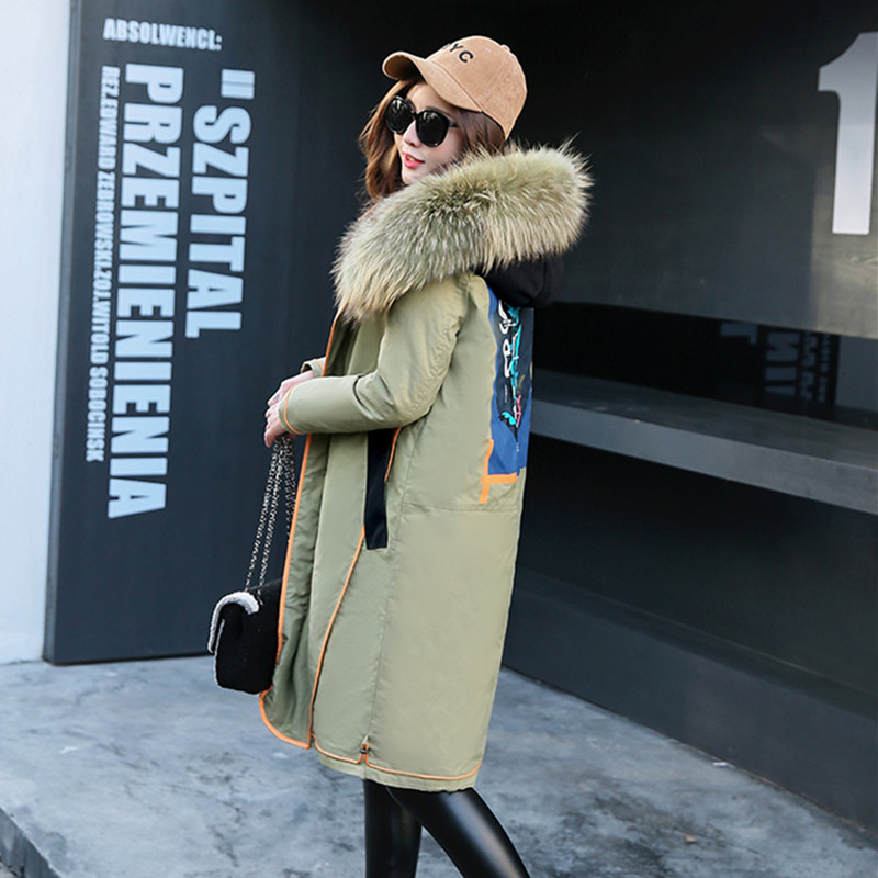 2017 Winter Jacket Long Big Real Fur Loose Embroidery Thick Warm Coat Letter Wide-waisted Casual Plus Size Women Winter Coats