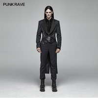 PUNK RAVE Gentleman Punk Mid length Victorian Coat Men Gothic Fashion Handsome Vintage Men Dovetail Evening Party Jacket Trench