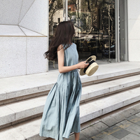 summer dress women 2018 sleeveless Harajuku cotton linen long dress Mori girl sundress Pleated Casual loose vest dress
