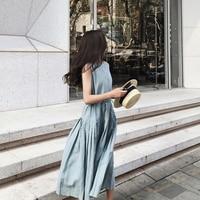 summer dress women 2018 sleeveless Harajuku cotton linen long dress Mori girl sundress Pleated Casual loose vest dress