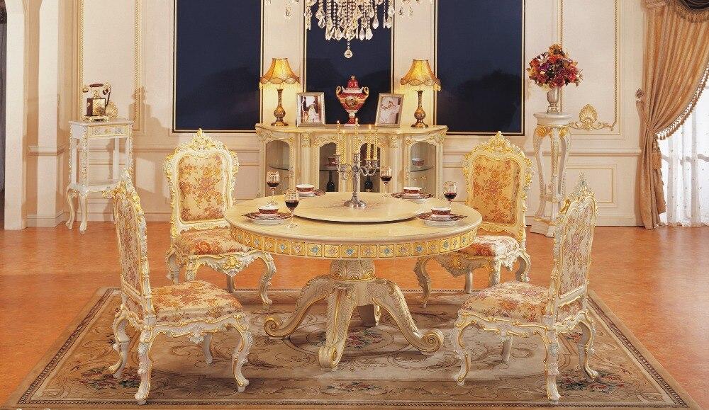 1,5 Mt Runden Tisch Luxus Esszimmer-set Esstisch Set Weder Zu Hart Noch Zu Weich