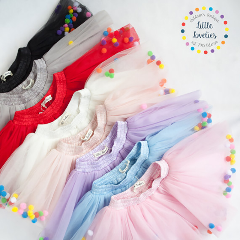 2018 Summer Baby Multilayer Tulle Tutu Skirt Colorful Pom Pom - Ropa de bebé - foto 2