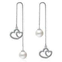 Trendy Simple 925 Silver Ear wire Zirconia Heart Shape Pearl Long Dangle Earrings for Women Female Party Statement Jewelry EH241