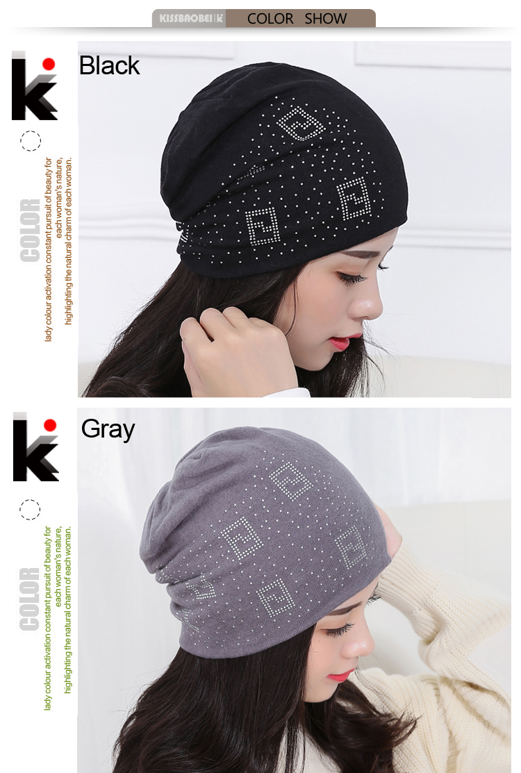 b76c44b0f954d 2016 Beanie Hats For Women Beanies Autumn And Winter Brand Knitted Hat  Turban Diamond Skullies Hip-hop Caps Stocking Ladies Lnit