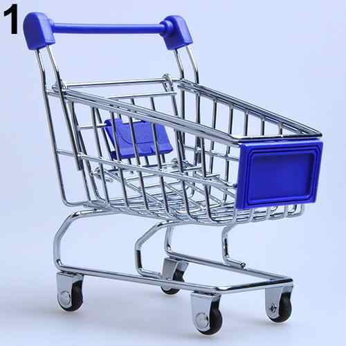 Supermarket Hand Trolley Mini Shopping Cart Desktop Decoration Storage Toy Gift