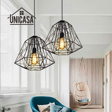 цена на Black Metal Pendant Lights Vintage Industrial Lighting Bathroom Bar Hotel Kitchen Island LED Light Antique Pendant Ceiling Lamp