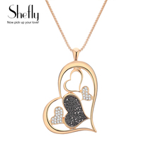 Big Heart Necklaces for Women Black White Crystal Jewelry Trendy Gold Silver Color Pendant Necklace Luxury Sweater Chain Gift trendy ancient silver owl pendant sweater chain necklace for women