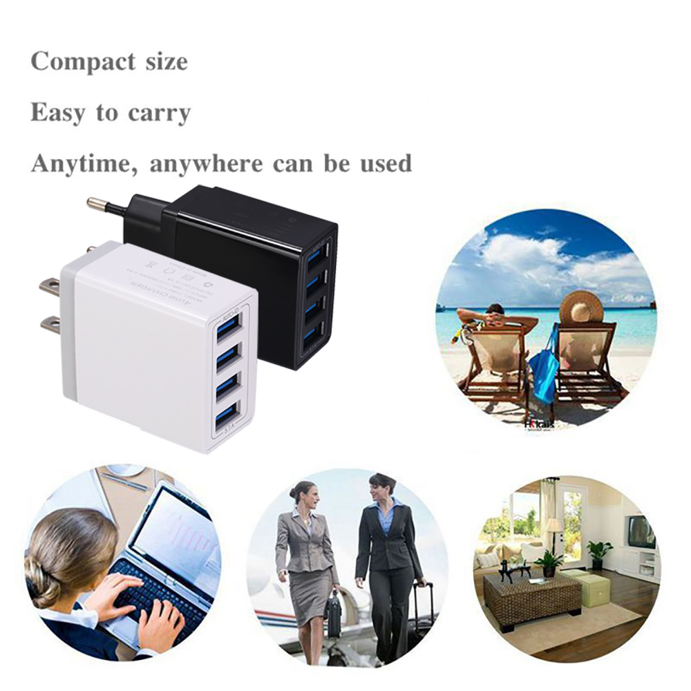 Universal 4USB Travel Mobile Phone Charger Standard 5V 5.1A Smart Charging Head Smart phone USB Fast charger 5