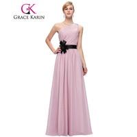 Grace Karin Prom Dress One Shoulder Elegant Floor Length Party Gowns Purple Blue Pink Chiffon Formal Long Prom Dresses 2018