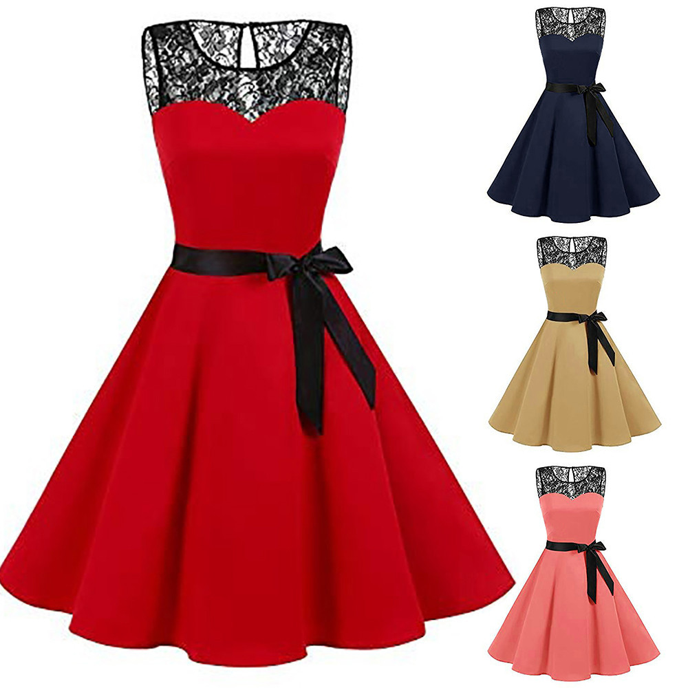 Women Sleeveless Solid Lace soft and comfortable Hepburn Vintage Swing High-Waist Pleated Dress L50/0125