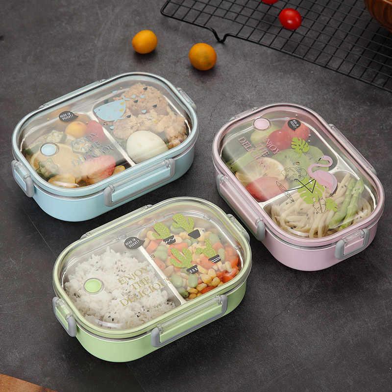 Ланч-бокс для детей японский 304 Нержавеющая Сталь Bento box термальный контейнер для хранения пищи детский школьный герметичный Ланчбокс