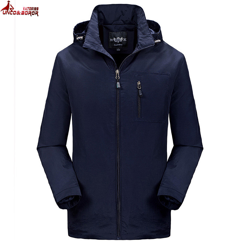 UNCO&BOROR Spring Jacket Brand male Hooded Windbreaker Coat Men Softshell Casual waterpr ...