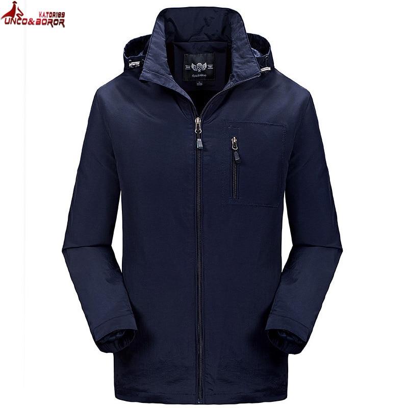 UNCO&BOROR Spring Jacket Brand male Hooded Windbreaker Coat Men Softshell Casual waterproof chaqueta hombre Jacket size M~4XL
