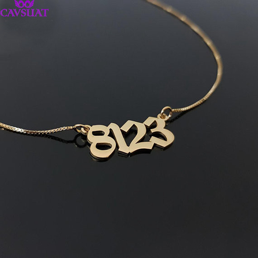 Stainless Steel Personalized Old English Number Necklaces For Women Men Custom Birthday Wedding Date Pendant Box Chain GiftsStainless Steel Personalized Old English Number Necklaces For Women Men Custom Birthday Wedding Date Pendant Box Chain Gifts