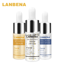 LANBENA Vitamin C Serum + 24K Gold Sechs Peptide + Hyaluronsäure Essenz Anti-Aging Moiturizing Hautpflege Whitening erhellt 3PCS