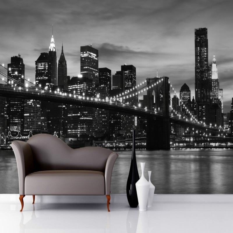 Brooklyn Black and White Wallpaper Mural photo wallpaper 3d mural Large wall painting mural backdrop stereoscopic wallpaperBrooklyn Black and White Wallpaper Mural photo wallpaper 3d mural Large wall painting mural backdrop stereoscopic wallpaper