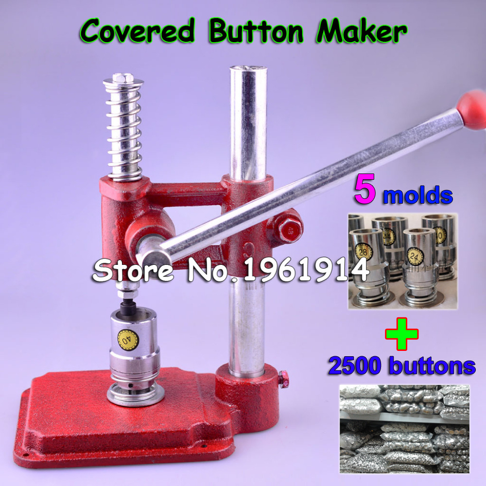 Fabric Covered Button Press Machine Handmade Fabric Self Cover Button Maker Machines Mold Tools + 5 Molds + 2500 pcs buttonsFabric Covered Button Press Machine Handmade Fabric Self Cover Button Maker Machines Mold Tools + 5 Molds + 2500 pcs buttons