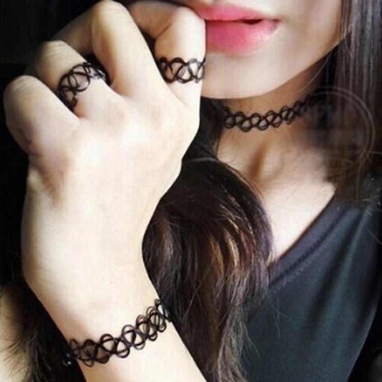 Nouveau noir fait main tour de cou Bracelets/bague/collier pendentif bijoux ensembles rétro élastique Stretch gothique pendientes mujer moda