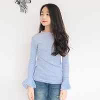 Cotton Flare Sleeves School T Shirt Girls Clothes Autumn Long Sleeve Little Big Girls Tees Tops
