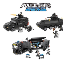 HSANHE Police SWAT Series Military City Armored Truck Command Vehicle Building Block Bricks Toys compatiable with gift