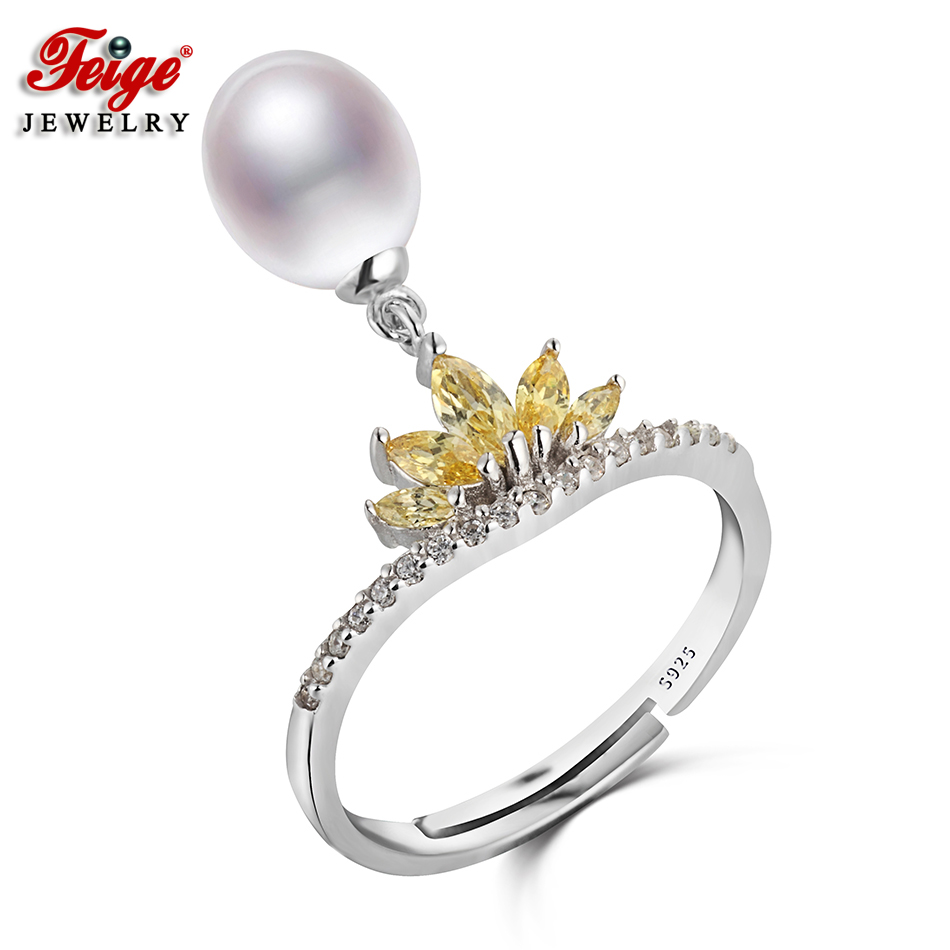 Crown Real Pure 925 Sterling Silver Ring for Women Anniversary Jewelry 8 9MM White Freshwater Pearl Jewelry Fashion Gifts FEIGE in Rings from Jewelry Accessories