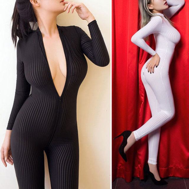 2018 Brand New Women Black Striped Sheer Bodysuit Smooth Fiber 2 Zipper Long Sleeve Jumpsuit 1