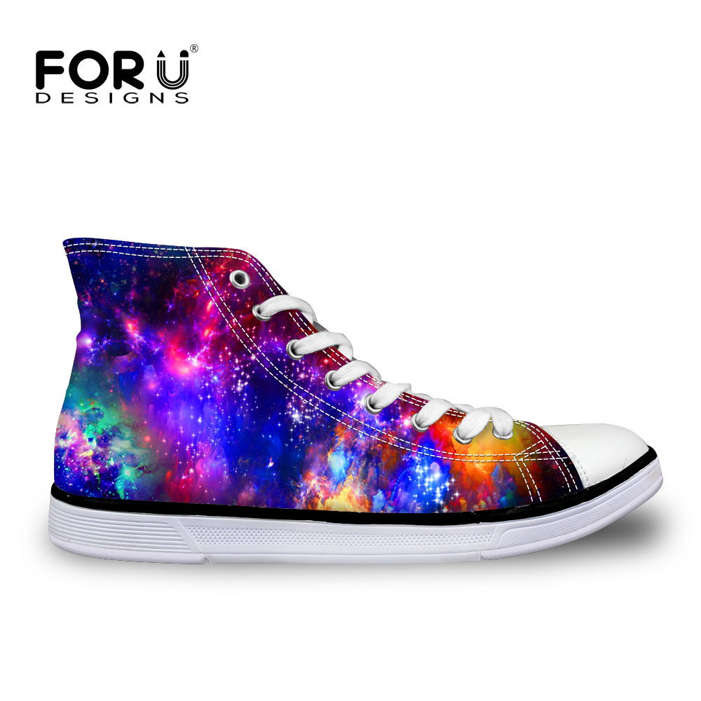 ФОТО Brand Designer  Women Shoes Galaxy Star Low High Top Canvas Shoes Fashion Lady Casual Flats Walking Jogging Shoes Zapatos Mujer