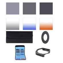 Completo ND 2 4 8 + Graduale Blu Arancione grigio Filtro 49 52 55 58 62 67 72 77 82mm Kit per Cokin P Set SLR DSLR Obiettivo Della Fotocamera
